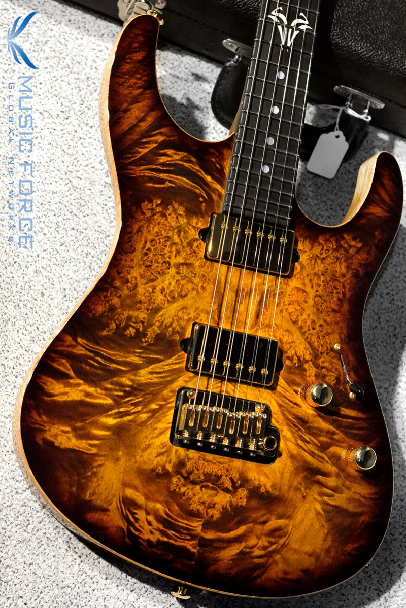 Suhr Custom Modern Carve Top HH Burl Maple Top-Bengal Burst w/Match Figured Headstock & Gold HW(2018년산/신품)