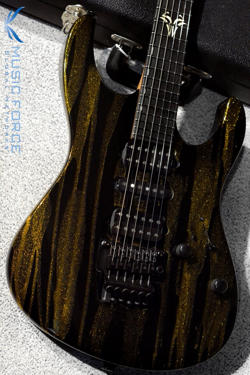 [Used] Suhr Custom Modern HSH Floyd-Gold Sparkle Drip w/Double S Inlay, Black HW & Reverse Headstock(2014년산/Mint급중고)